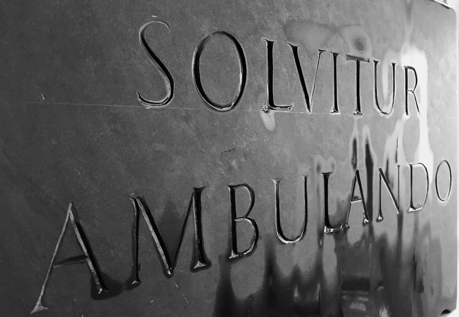 Solvitur Ambulando, slate 40cm x 30cm