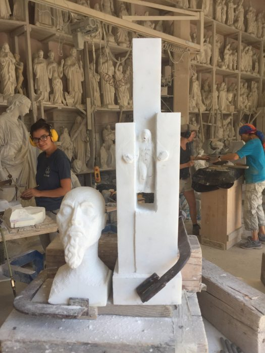 Annette, Simone and Angelika behind Andrea's carving of today