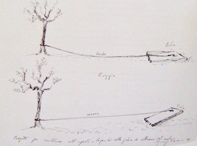 Giuseppe Penone 1968, drawing for pietra, corda, albero, sole: pietra, corda, albero, pioggia