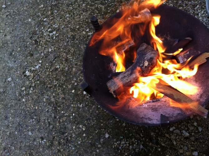 Fire outside the Bothy, Rococo Garden