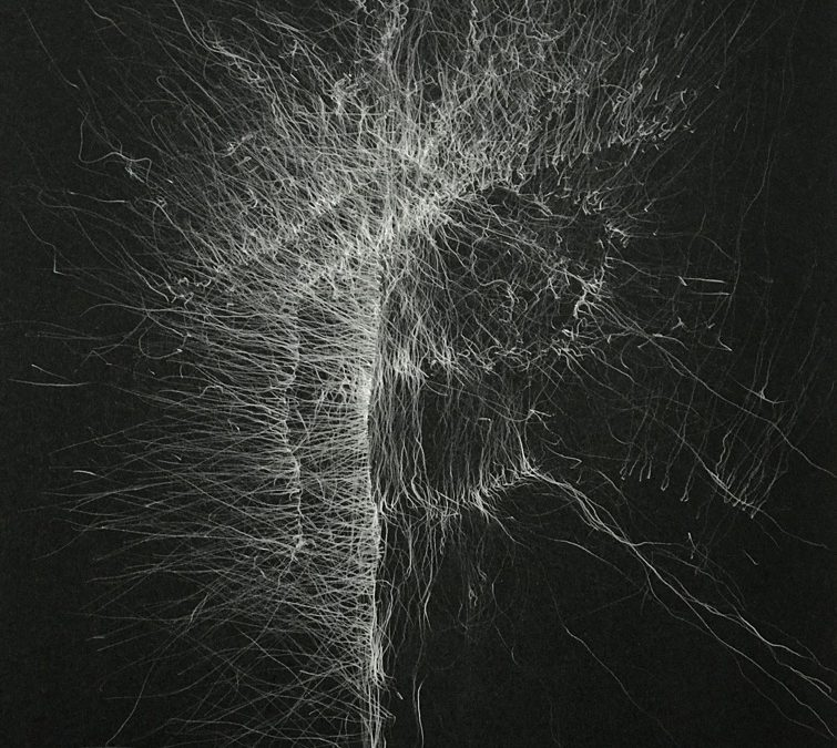 Sound- 1-Graphite drawing on black paper