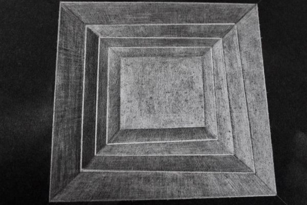 Light Architecture - 1-Graphite Drawing on Black Paper