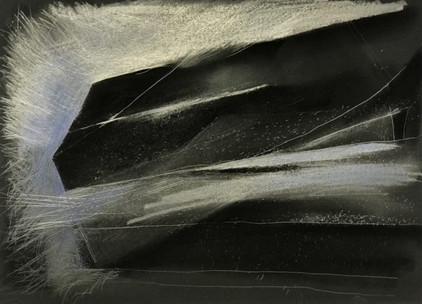 Light Form- 11-Graphite, pastel drawing on black paper