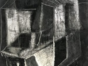 Underground- 1- Charcoal, Graphite and Ink Drawing on White Paper