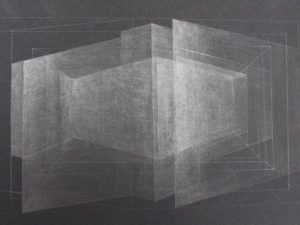 Light Architecture - 3-Graphite Drawing on Black Paper